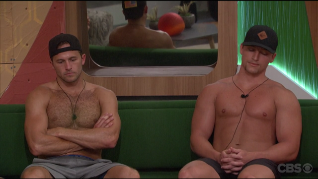 Shirtless Winston and Brett